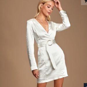 Lulus White Satin Long Sleeve Belted Mini Dress